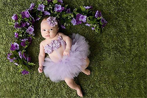 Mit Kostüm Familie Neugeborenen - ZZHK Fotografie Kostüm Requisiten, Kinderröcke, dreiteiliges Kleid mit Haarband für Fotostudio und Familie,Purple
