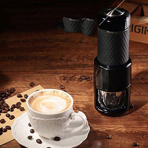Unbekannt Kaffeemaschine Mini Espresso Hersteller Tragbar Kompakt Handbuch Kaffee Hersteller Hand Betrieben Kaffee Maschine Cappuccino Schnell Kalt Brauen,Pink