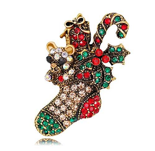 XBY.mi 1PCS Elegante Romantico Inverno Natale Babbo Natale Fiore Alce Spilla( Calze Oro )