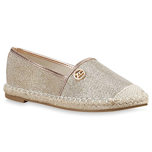 Damen Slipper Espadrilles Bast Freizeit Schuhe Strass Flats Gold Brosche