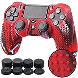 Pandaren TACHONADO de Silicona Fundas Protectores de Piel Antideslizante para el PS4 Mando x 1 (Camuflaje Rojo) + FPS PRO Thumb Grip Pulgar Agarre x 8