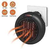 Mini ventilatore Riscaldatore, Riscaldatore a portata di mano da 900 W, Soffione d'aria elettrico a parete con termostato e timer per l'ufficio del bagno di casa - Nero