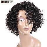 Perruque bouclée en cheveux naturels Morichy pour femme - Coupe courte - Véritables cheveux brésiliens non traités - Bonnet avec front en dentelle - Noir...