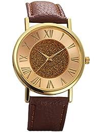 watches - GENEVA Women's Fashion Glitter Dial Leather Strap Analog Quartz watch Color: Dark Brown