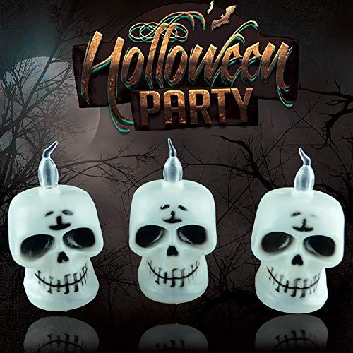 Bruselas08 - Velas de decoración para Halloween, funciona con pilas, sin llama, LED, Vela, Calavera, Calabaza, luz Nocturna, Fiesta, Velas electrónicas Falsas con Luces LED, plástico, skull