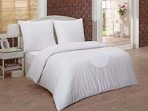 Bettwäsche Mako Satin Damast 100% Baumwolle Hotel Bettgarnitur Weiß 200x200cm (Hotel Collection Bettwäsche-sets)