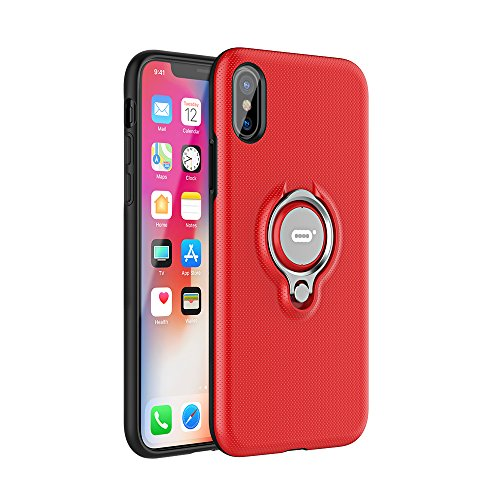 ICONFLANG iPhone X Hülle, iPhone X Tasche mit Ring Ständer von, 360 Grad drehbarer Ring Halter, Dual Layer Stoßfest Schlagschutz iPhone X Hülle, Kompatibel mit Magnetic Car Mount Fall-Rot (Dual-ring-mount)