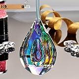 H&D 76mm Colorful Concave Teardrop Lamp Prisms Parts Loquat Shape Chandelier Glass Crystals Hanging Drops Pendants (colorful, Concave Teardrop)
