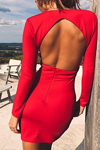 Le Donne Solido Caldo A Maniche Lunghe Scollo A V Bodycon Vestito Scollato Plissettata. Red