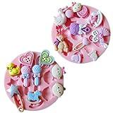 SUNJAS Silikon Geburt Baby Spielzeug Ausstecher Ausstechformen für Fondant Süßigkeiten Marzipan TortenTortedeko ( 2tlg inkl. Milchflasche Kinderwagen Holzpferd )