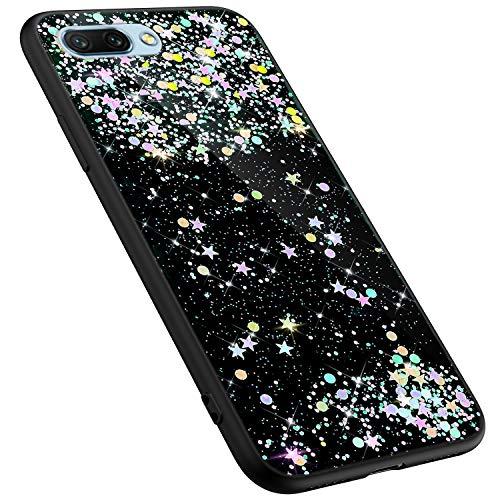 MoreChioce kompatibel mit Huawei Honor 10 Hülle,kompatibel mit Huawei Honor 10 Glitzer Handyhülle,Kreativ Schwarz Dot Bling Paillette Strass Silikonhülle Schutzhülle Kristall Flexible Bumper - Bling Dots