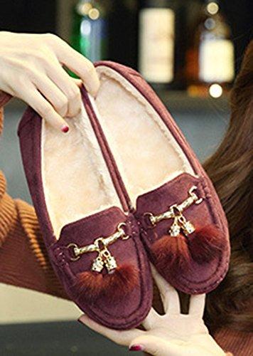 Aisun Femme Fashion Fourré Basses Plates Mocassins Rouge Vineux