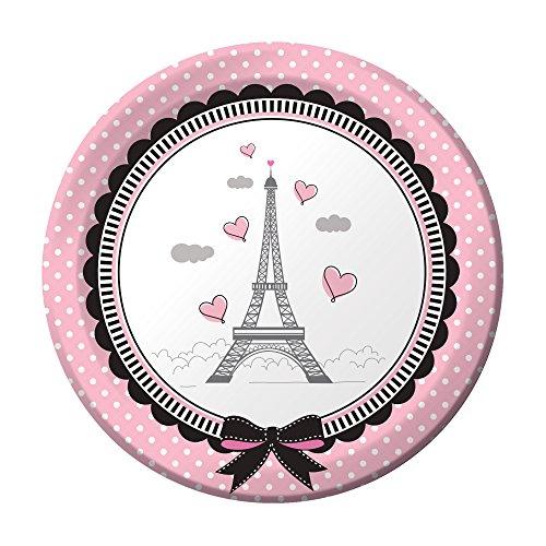 onverting 8Zählen stabile Stil Party in Paris Papier Lunch Teller, 17,8cm Pink/Schwarz ()