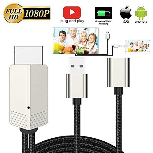 HDMI zu Phone, Kompatibel mit iPhone zu HDMI Kabel für TV Projektor Monitor, 1080P HDTV mit Ladeanschluss für iPhone, iPad, Android Telefone (Hdmi-telefon-tv-android)