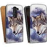 LG G2 mini Tasche Schutz Hülle Walletcase Bookstyle Schnee Wolf Hund