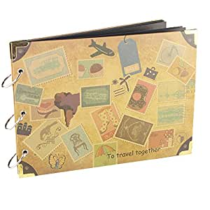 【Viaggio Scrapbook album】 Woodmin 30 pagine Photo Album per i regali, Foto bagagli, Wedding Guest Book e Record di viaggio