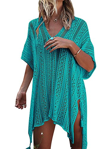 HARHAY Damen Sommer Badeanzug Bikini Strand Bademode Cover Up - Grün - Einheitsgröße (Grün Swim Cover Up)