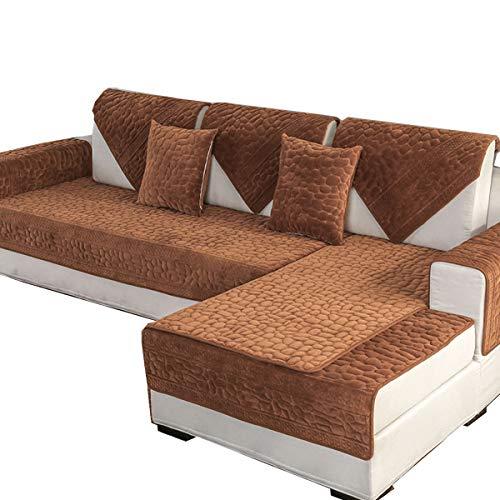 DFamily Plüsch Volltonfarbe Sofaüberwurf Schnitt Sofa überwürfe Anti-rutsch Möbel Protector Für loveseat,Liege,Stuhl-Dunkelbraun 90x70cm(35x28inch)(1 Stück)