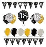 Feste Feiern Geburtstagsdeko Zum 18. Geburtstag | 14 Teile All-In-One Set Folienballon Ballon Wimpelkette Gold Schwarz Silber Party Deko Happy Birthday
