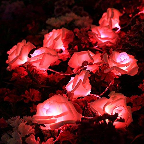 SunJas - guirnalda luminosa con forma de flor rosa, a pilas, con 20flores rosas LED para decoración de Navidad, fiesta, boda, San Valentín, aniversario