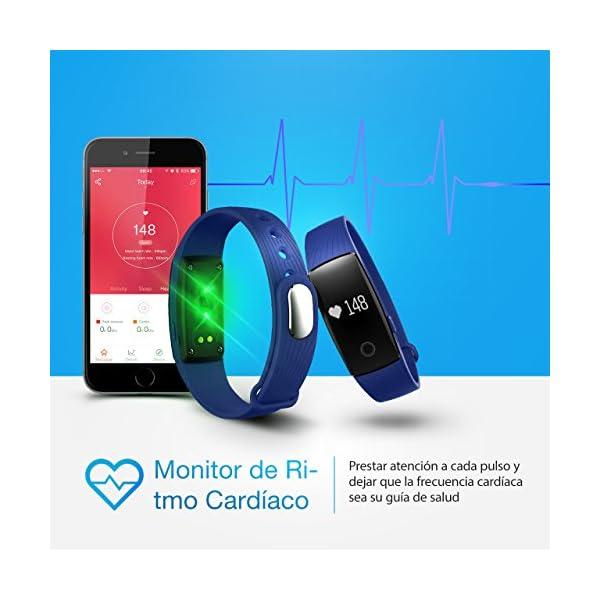 Seneo Fitness Tracker, Reloj Inteligente con Pulsómetro, IP67 Pulsera de Fitness Rastreador de Actividad Monitor de Frecuencia Cardíaca Podómetro Reloj Deportivo IP67 para Hombre Mujer 3