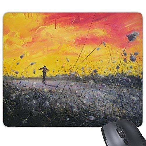 Ölgemälde Abenddämmerung Reed Boy Abstrakte Landschaft Illustration Muster Rechteck Rutschfeste Gummi Mousepad Spiel Mauspad Geschenk