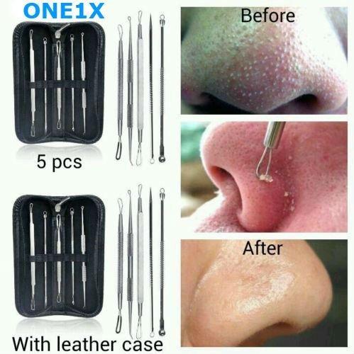 ONE1X Komedonenquetscher / Mitesser-Entferner, Werkzeug zur Pflege der Gesichtshaut, Edelstahl, 5Stück + Etui - Blemish Extractor