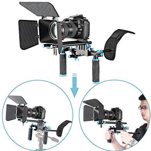Neewer® DSLR Film Video Kamera, Rig Set System Kit für Camcorder oder DSLR wie Canon Nikon Sony Pentax Fujifilm Panasonic, enthalten: (1) Shoulder Mount + (1) 15 mm Rail Rod System + (1) matt Box - Sony-video-kamera