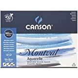 Canson Montval 300gsm watercolour practice paper pad including 12 sheets, size:24x32cm, natural white and Cold Pressed (Not)