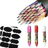 Jeffica 6pcs 1*36 Lápices de Colores-2*etiquetas de la pizarra-3*Rotuladores de tiza líquida Los Mejores Lápices Artísticos de Colores para Niños y Adultos, Artistas y Dibujantes