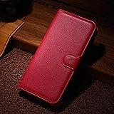 Coque LG Aristo 2 / LV3 2018, Affaires Leather Cuir Rabat Wallet Case Housse Cover pour LG Aristo 2 / LV3 2018 [Rouge]