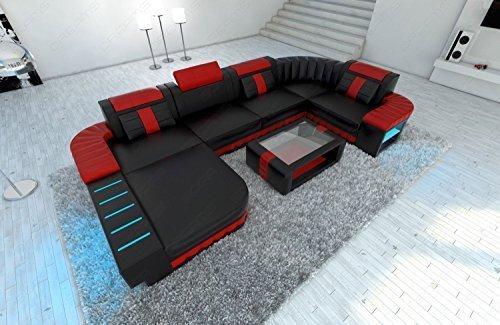 Design Bellagio forme U avec éclairage LED noir-rouge