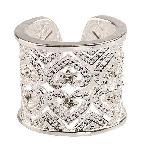 Offener Damen-Ring, 925erSterling-Silber, breit, mit Zirconia