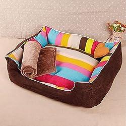 Pet Casa Caseta Multicolor Rayas Muy Buena Calidad con cojín extraíble perro muy suave y cálida sala de cama para perro pequeño, mediano y grande Perros y Gatos. Disponible en 3tamaños