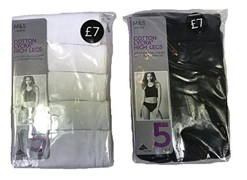 Ex M&S Lingerie Cotton Lycra High Legs Knickers 5 Pack Marks & Spencer UK 8-22