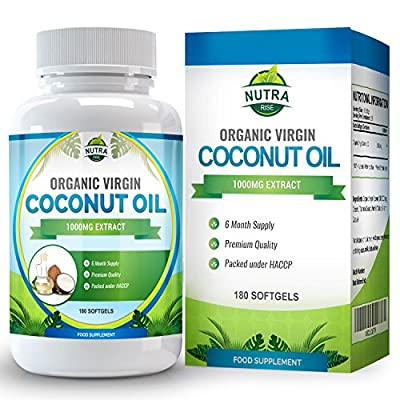 Coconut Oil Capsules, Virgin Organic, Powerful MCT Oil Benefits, Essential Fatty Acids for Natural Weight Loss, 1000mg, You Get Twice the Capsules with our 180 Count