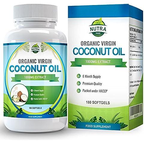 Cápsulas de Aceite de Coco Virgen orgánico, aceite de TCM con grandes beneficios. Ácidos grasos esenciales para perder peso de forma natural, 1000mg, doble de cápsulas con 180 unidades