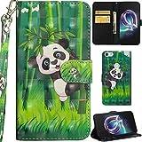 Ooboom Alcatel Idol 5 Hülle 3D Flip PU Leder Schutzhülle Handy Tasche Case Cover Ständer mit Trageschlaufe Magnetverschluss für Alcatel Idol 5 - Panda Bambus