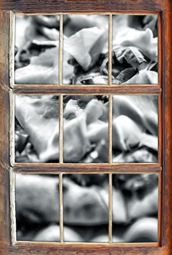 Stil.Zeit Monocrome, Leckere Pizza mit Parmaschinken Fenster im 3D-Look, Wand- oder Türaufkleber Format: 92x62cm, Wandsticker, Wandtattoo, Wanddekoration