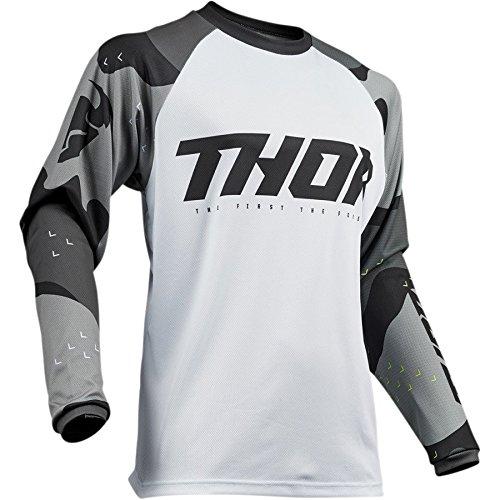 Thor Sector Camo Motocross Jersey Cross Offroad Enduro Downhill Quad Atv MTB Mx (XL, Weiß/Grau)