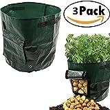 3X Pflanzsack groß, 50 L, 34 x 35cm , Gronest Pflanzsäcke für Kartoffel, Erdbeer Karotten, Erdbeeren Grow Bag