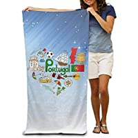 jiilwkie Travel To Portugal Adult Beach Towels Fast/Quick Dry Machine Washable Lightweight Absorbent Plush