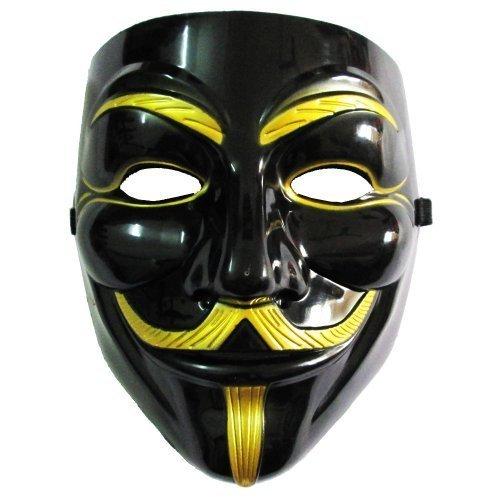 Coxeer® 5pcs / lot - neue V wie Vendetta Maske (Schwarz / Gold)