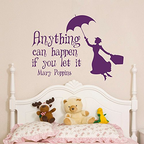 wandaufkleber schlafzimmer Wall Sticker Home Art Quotes Mary Poppins Inspirational Quote Wall Sticker Vinyl Art Poster Decorative Wall Picture For Living Room Home Decoration für Wohnzimmer Schlafzimmer