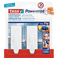 tesa UK Powerstrips Large Hooks with Removable Adhesive Strips, 2 Hooks