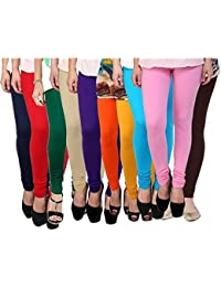 Super weston Women's Cotton Leggings - Pack of 10(6847524_Multicolour_Free Size)