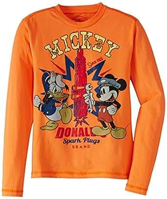 Disney Boy's Donald Duck and Mickey  T-Shirt (MF1CLT611_Blazing Orange_13-14 years)