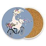 Dessous de verre absorbant en céramique pour boissons avec dos en liège pour grand gobelet, sans support Girl Llama Driving The Vintage Bicycle with Flower Bouquet on Blue Backdrop...