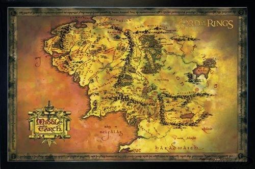 Close Up Herr der Ringe Poster Karte von Mittelerde (96,5x66 cm) gerahmt in: Rahmen schwarz - Poster Ringe Gerahmte Herr Der