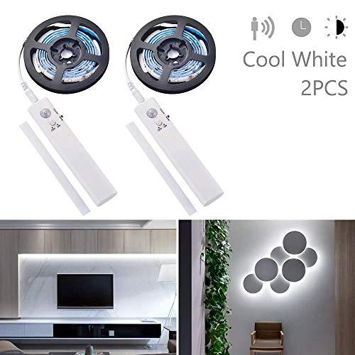 2 stücke motion sensor 1 mt led streifen lichtschlauch kit, kleiderschrank nachtlicht treppe schritt nachtbeleuchtung band licht batteriebetrieben für küchenschränke bett cool white -